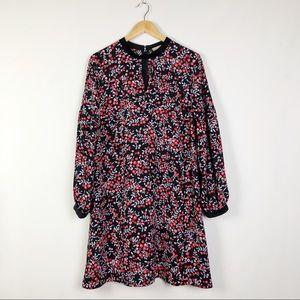 Loft Floral Dress Black Velvet Trim